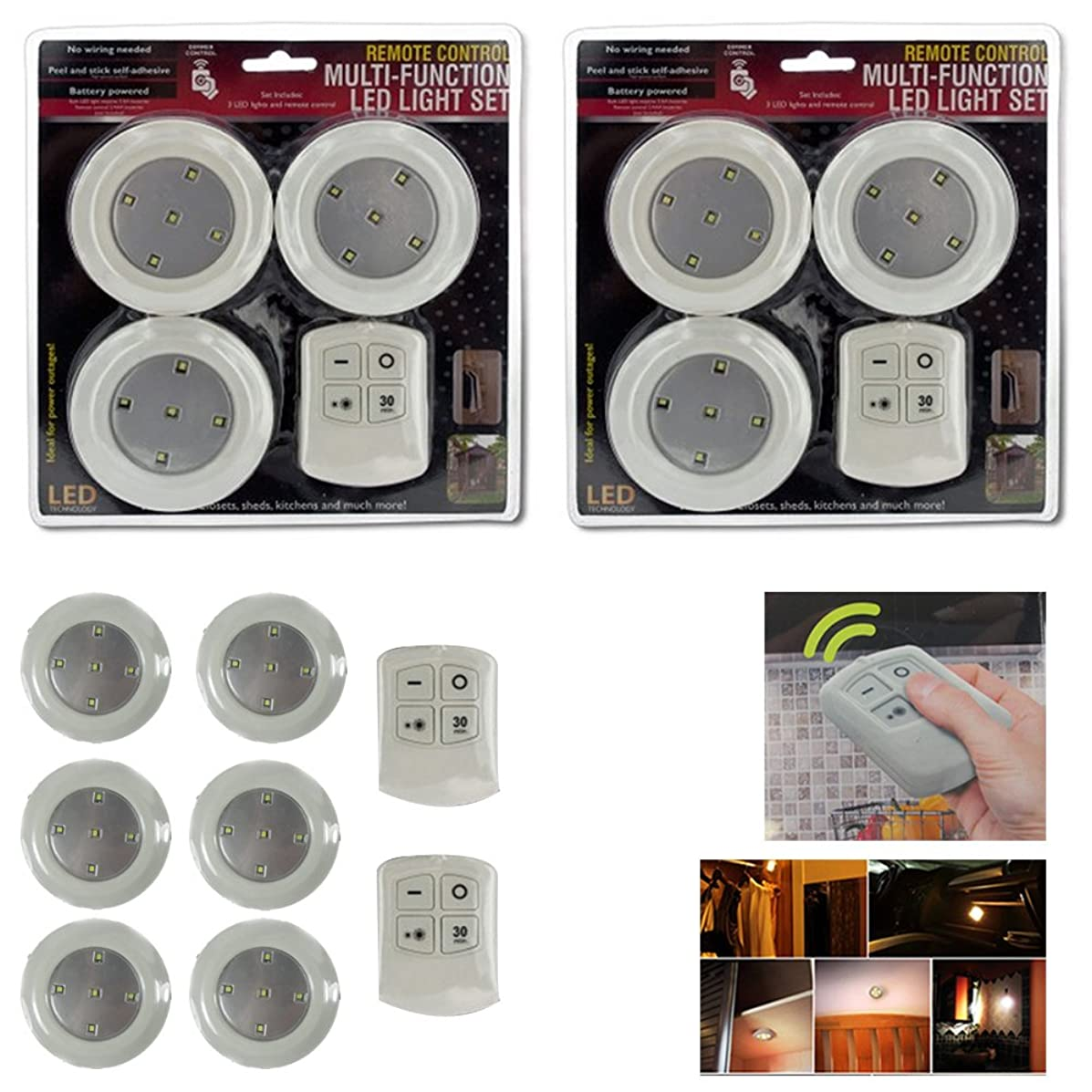 6 x LED Round Light Dimmable Touch Cabinet Closet Kitchen Remote Control Battery