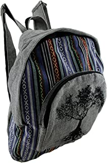 Tree of Life Grey Cotton Canvas Striped Tapestry Fully Lined Backpack