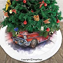 Hand Drawn Old Fashioned Car Antique Motor Vehicle Retro Outdated Abstract Art,Christmas Tree Skirt Mat,Red Dimgrey,48 inches,Christmas Holiday Party Decoration