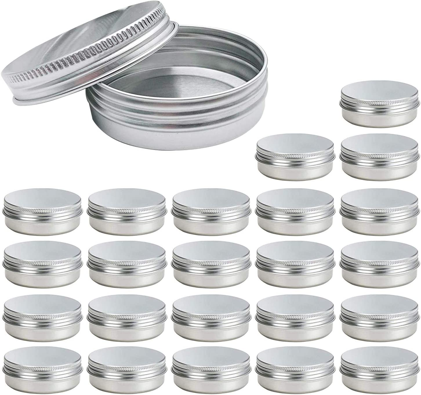 2 Oz Screw Top Round Aluminum Tin Cans 24 Pack Eau Metal Tin Storage Jar Containers with Screw Cap for Lip Balm, Cosmetic, Candles, Salve, Make Up, Eye Shadow, Powder, Tea