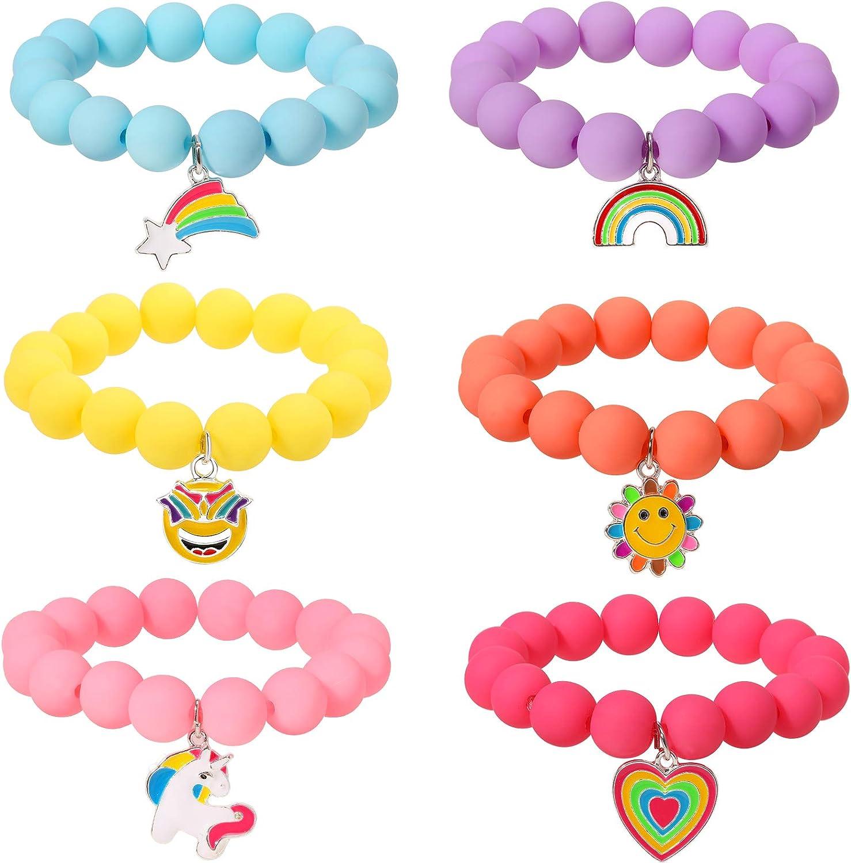 PinkSheep Challenge the lowest price of Japan ☆ Unicorn Beads Bracelet for Rainbow 6PC Kid Girl Kansas City Mall Brac