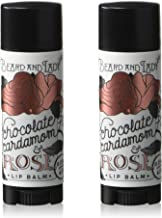 Beard and Lady - Chocolate Cardamom Rose Salve Lip Balm Stick - Black Oval Tube Sticks - 2 Pack of 0.15 fl oz balms