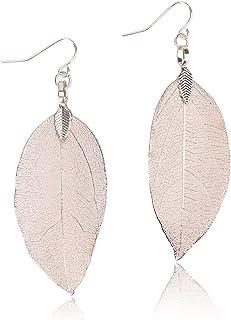 twisted feather earrings Spring poppy flower feather genuine leather earrings feather earrings floral earrings