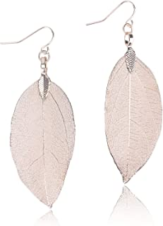 Filigree Long Leaf Pendant Dangle Necklace and Earring Jewelry Set Fashion Gifts for Women Girls