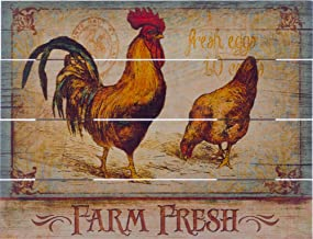 "Rustic Pallet Art Farm Fresh Wooden Wall Hanging, 9""X12"" Decorative Plaque"