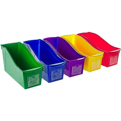 Storex Interlocking Book Bins, 5 1/3 W x 14 1/3 L x 7 H, 5 Color Set, Plastic (70105U06C)
