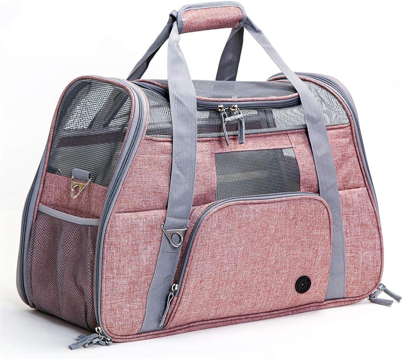 OneShoulder Portable car pet Out Carrying Bag Breathable cat Dog pet cage Supplies Large pet BagLightpink