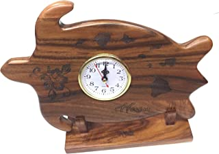 Koa Wood Turtle Clock Hand Carved Pulm Tree with Hawaiian Island Design