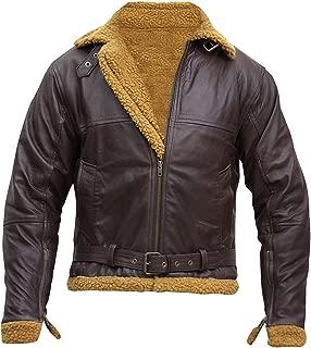 Men's Aviator RAF B3 Ginger Shearling Flight Pilot Sheepskin Leather Bomber Jacket