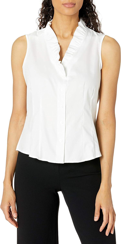 Kasper Women's Easy Care Oxford Shirting Ruffle V Neck Sleeveless Cami