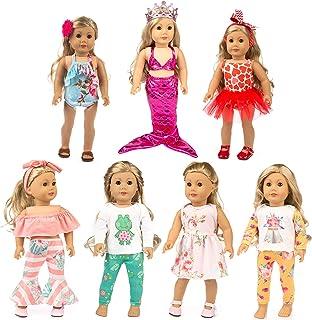 XFEYUE 7 ست (15 قطعه) لباس و لوازم جانبی عروسک 18 اینچی عروسک دختر 18 اینچی آمریکایی ، لباس پری دریایی و سبک های مختلف لباس عروسک برای هدایای تولد کودک