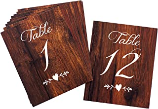 2 City Geese Rustic Wedding Table Numbers | Wood Look Table Numbers 1-12 | Includes Mr and Mrs Sweetheart Table Cards and 2 Reserved Table Cards | Heavy Cardstock with Linen Texture Double Sided
