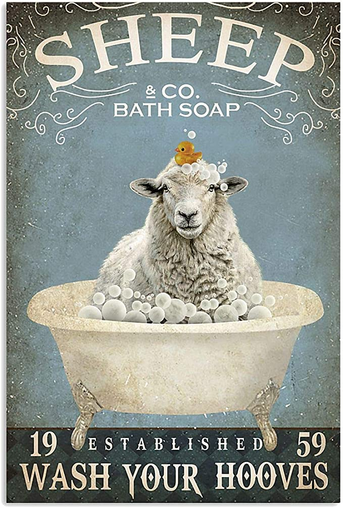 "Amazon.com: PreLove Bath Soap Sheep Wash Your Hooves Poster Gift for Men  Women Art Print 16""x24"": Posters & Prints"