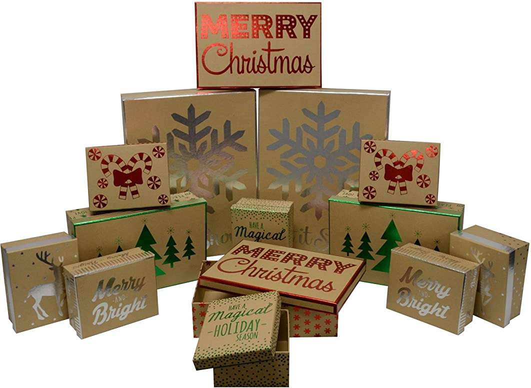 Christmas Decorative Gift Boxes with foil hot Stamp Holiday Designs, Strong and Thick, Durable and Reusable for Gifts or Storage, Includes Two Nested Sets in All Sizes (Bulk Set of 14 Boxes)