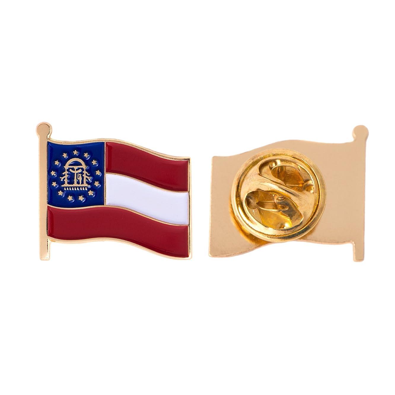 Georgia GA State Flag Lapel Pin Enamel Made of Metal Souvenir Hat Men Women Patriotic (Waving Flag Lapel Pin)