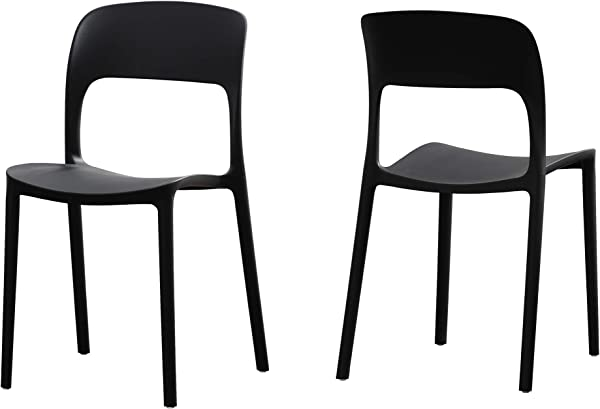Great Deal Furniture 306528 Funnel Indoor Plastic Chair Set Of 2 Black