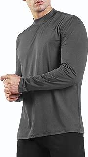 Ogeenier Men's Long Sleeve Athletic T-Shirt Mock Neck Running Workout Shirts