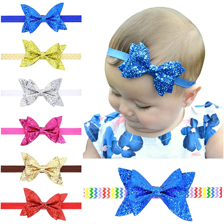 Baby Headband, Fascigirl 7 Pcs Baby Girl Headband Sequined Elastic Bow Head Wrap Hair Band for Newborn Toddler