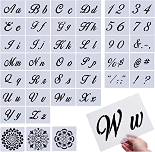 Letter Stencils,39 Pcs Large Size Letter Templates,More Than 100 Designs, Reusable Art Craft Stencils,Fit for Painting on Wood/Wall/Fabric/Rock