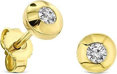 Miore pendientes redondos presión borde circular oro blanco/oro amarillo 9 kt 375 diamantes talla brillante 0,15 ct