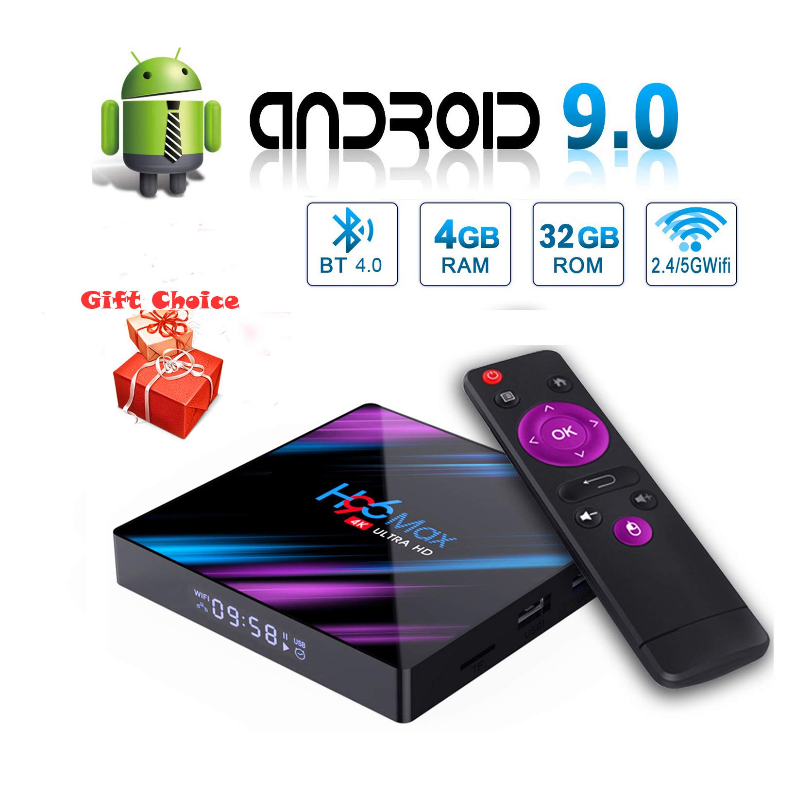 Android 9.0 TV Box, EstgoSZ H96 MAX 4GB 32GB Android Box USB 3.0 BT 4.0 2.4G 5G Dual WiFi 3D/4K H.265 KD18.1 Smart Android TV Box: Amazon.es: Electrónica