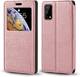 Oppo Realme Narzo 30 Pro 5G Case, Wood Grain Leather Case with Card Holder and Window, Magnetic Flip Cover for Oppo Realme...