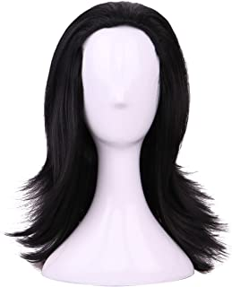 Yilys Men's Long Black Curly Fluffy Halloween Party Wig