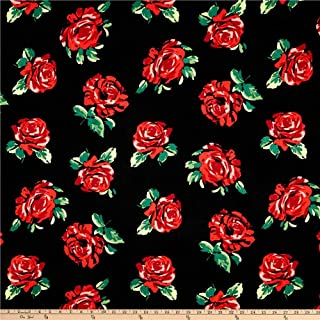 Fabric Liverpool Double Knit Roses Black/Red Fabric by the Yard