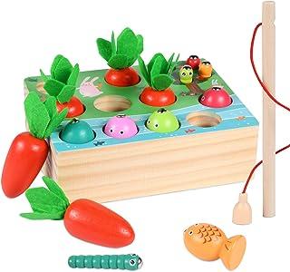 Juguete de Zanahoria,Juguetes Montessori,Madera Niños Juego de Clasificación Rompecabezas Juguetes,Zanahorias Clasificació...