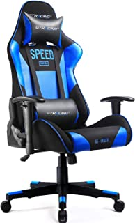 GTRACING Gaming Chair Fabric Racing Office Computer Game Chair Ergonomic Backrest and Seat Height Adjustment Recliner Swivel Rocker With Headrest and Lumbar Pillow E-sports Chair Blue