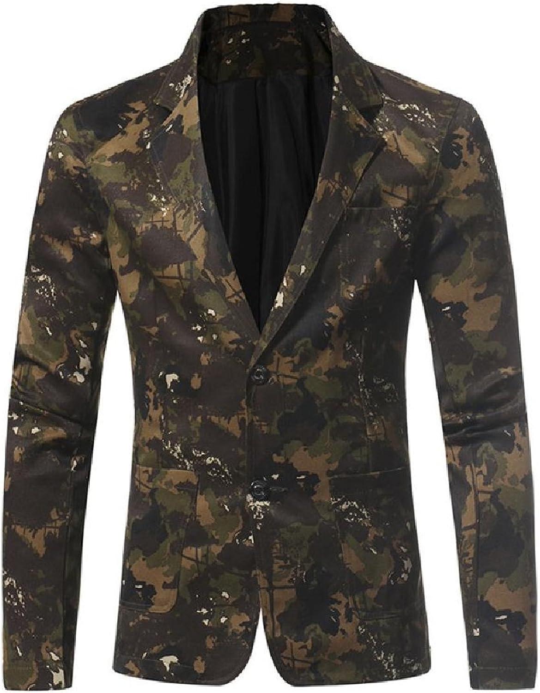 c2718e25934d Abetteric Men Camouflage Slim Casual Military Notched Notched Notched Lapel  Suit Coat 6fa036