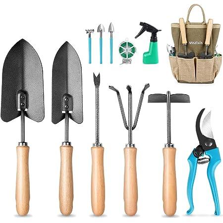 MOSFiATA Ensemble d'outils de jardin , 12 outils de jardinage, Equipé d'une bêche, de ciseaux, d'un pulvérisateur, d'un râteau, d'un sécateur, le meilleur cadeau de jardin du désherbant