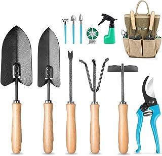 MOSFiATA Garden Tools Set 12 pcs Hand Kit Gardening Tools Set made of High-Carbon Steel with Shovels, Scissors,Sprayer,Rak...