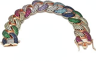 Fancy Italian Jewels Bracciale da Donna Catena Cubana in Argento 925 con Zirconi multicolore Made in Italy