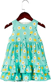 COTTON FAIRY Baby Girl Floral Dresses Flower Summer Dresses (3T,Turquoise)