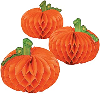 Fun Express Paper Pumpkin Decorations - 6 pcs - Halloween/Thanksgiving Table Centerpieces