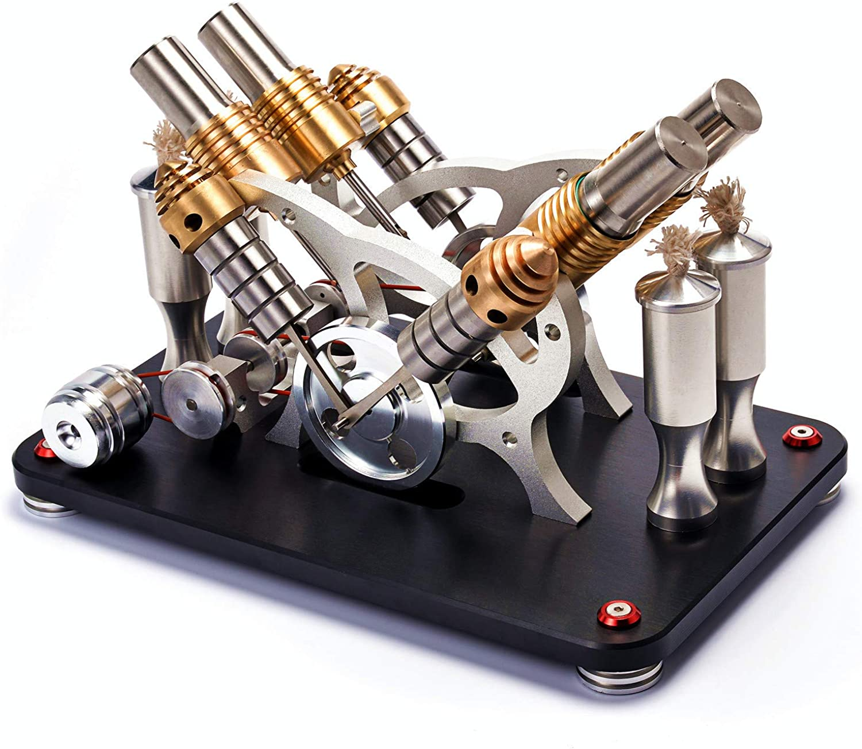 MOTECH Heiluft Stirlingmotor-Modell Stirling Motor mit Stromgenerator, Wissenschaftliches Modell mit 7-Farbe LED-Licht Steampunk-Stil Ornament (M163-V4B)