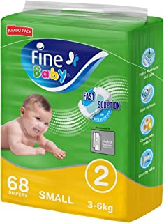 Fine Baby Diapers, Size 2, Small 3–6kg, Jumbo Pack of 68 diapers