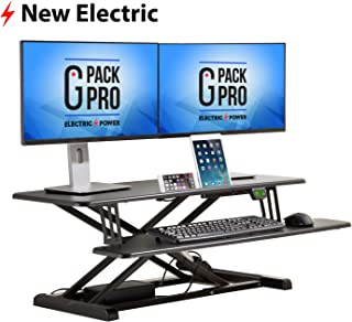 G Pack Pro Standing Desk Converter - Electric Height Adjustable Desk for Sit Stand Desk Workstation with Removable Keyword Tray and Space for Dual Monitors - Ergonomic Design for Maximum Productivity