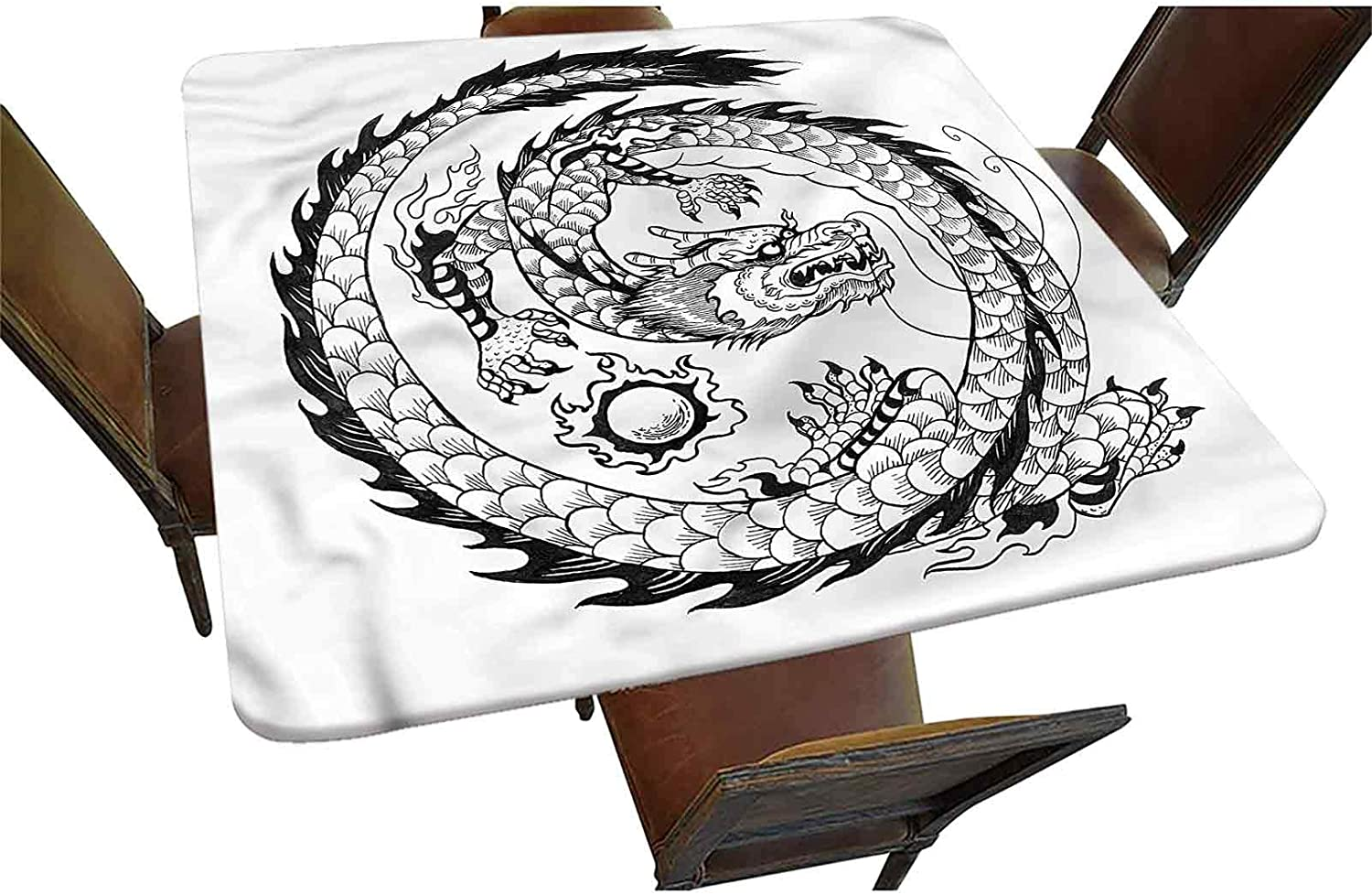 Atlanta Mall Dragon Sales for sale Decorative Elastic Edged Square Fitted Tablecloth Japanes