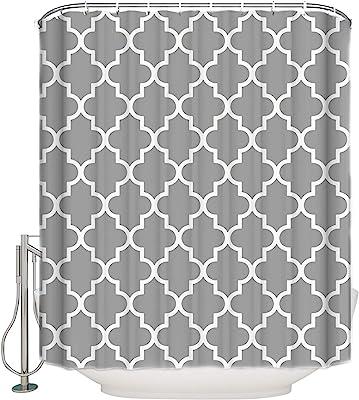 "Vandarllin 48""(w) x 72""(L) Custom Light Grey Quatrefoil Pattern Bathroom Waterproof Polyester Fabric Shower Curtain"