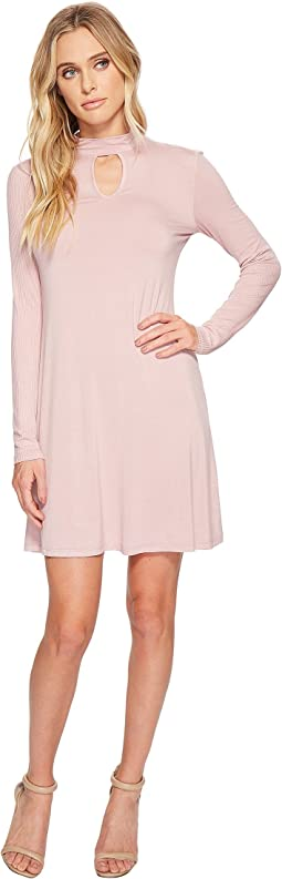 American Rose - Corrina Mock Neck Keyhole Dress