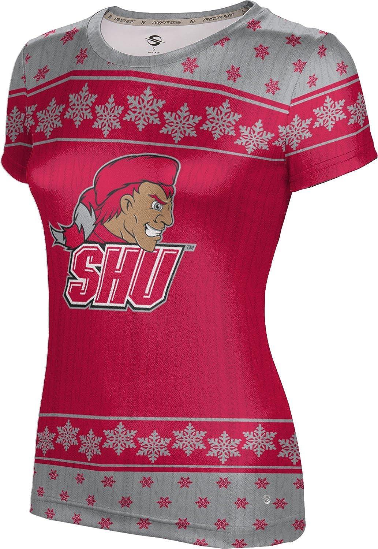 Sacred Heart University Ugly Holiday Girls' Performance T-Shirt (Snowflake)