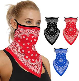 Ypser 3Pcs Face Scarf Neck Gaiter Bandana Ear Loops Balaclava for Dust Wind UV Headwear