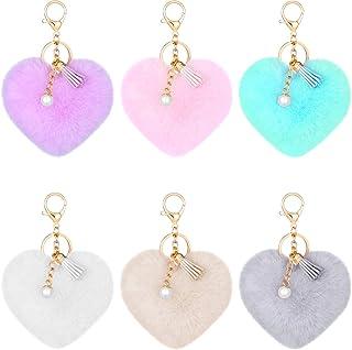 6 Pieces Colorful Tassel Pearl Pom Poms Keychains Heart Shaped Pompoms Keyring Faux Rabbit Fur Pompoms Keyring Fluffy Car ...