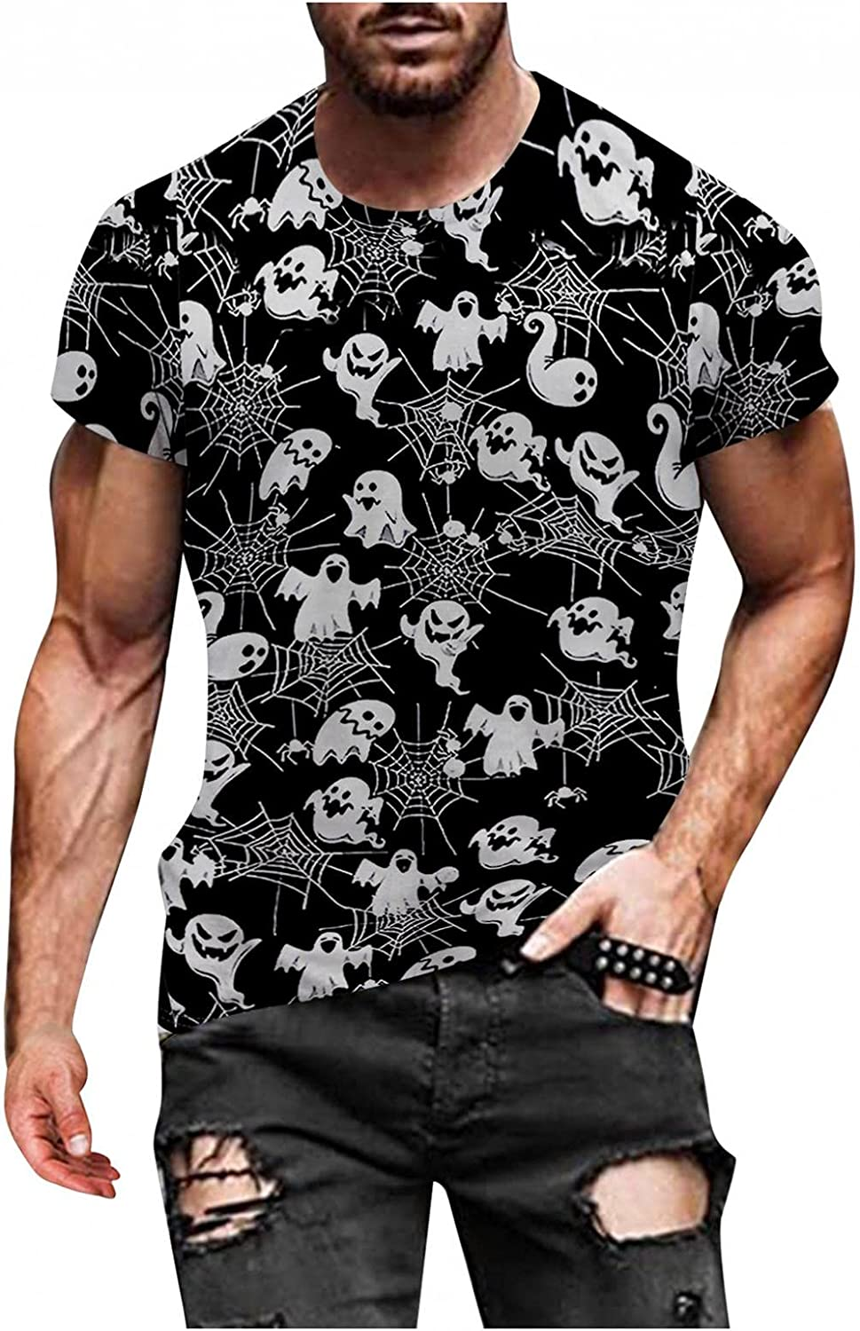 Aayomet for Men T-Shirts Halloween Graphic Long Sleeve Round Neck Sweatshirts Casual Workout Sport Tee Shirts Blouses Tops
