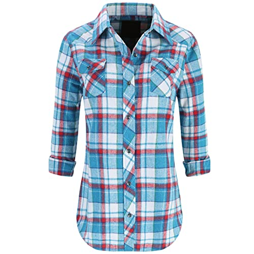 Lilicherry Womens Long Sleeve Collared Button Down Plaid Flannel Shirt