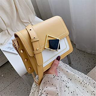 ZZZ Shoulder Bag Small Square Bag Chic Ladies Cover Style Trend Hit Color Messenger Pouch fashion (Color : Yellow)