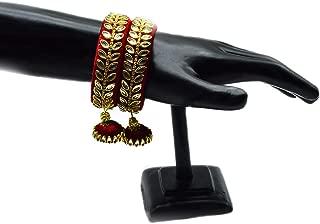 Silk Thread Kundan Bangles with Latkan Hangings Deep Red Stylish & Trendy Bangle Set