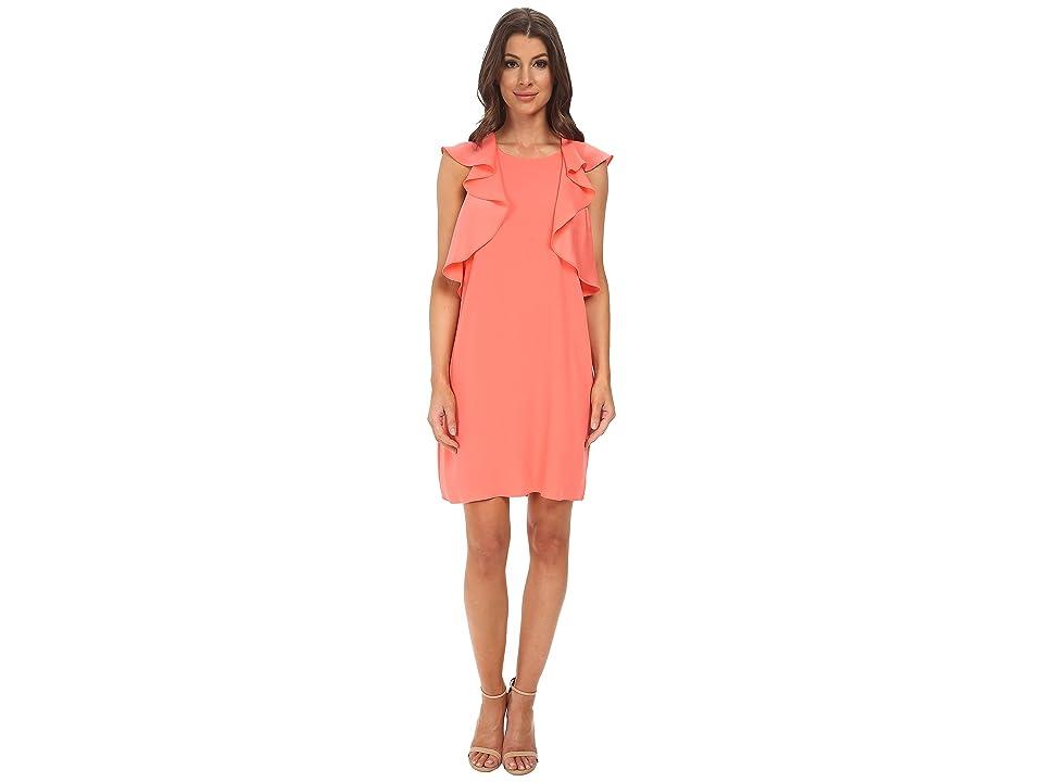 BCBGMAXAZRIA Jenni Ruffle Shoulder Racer Back Dress (Pink Coral) Women